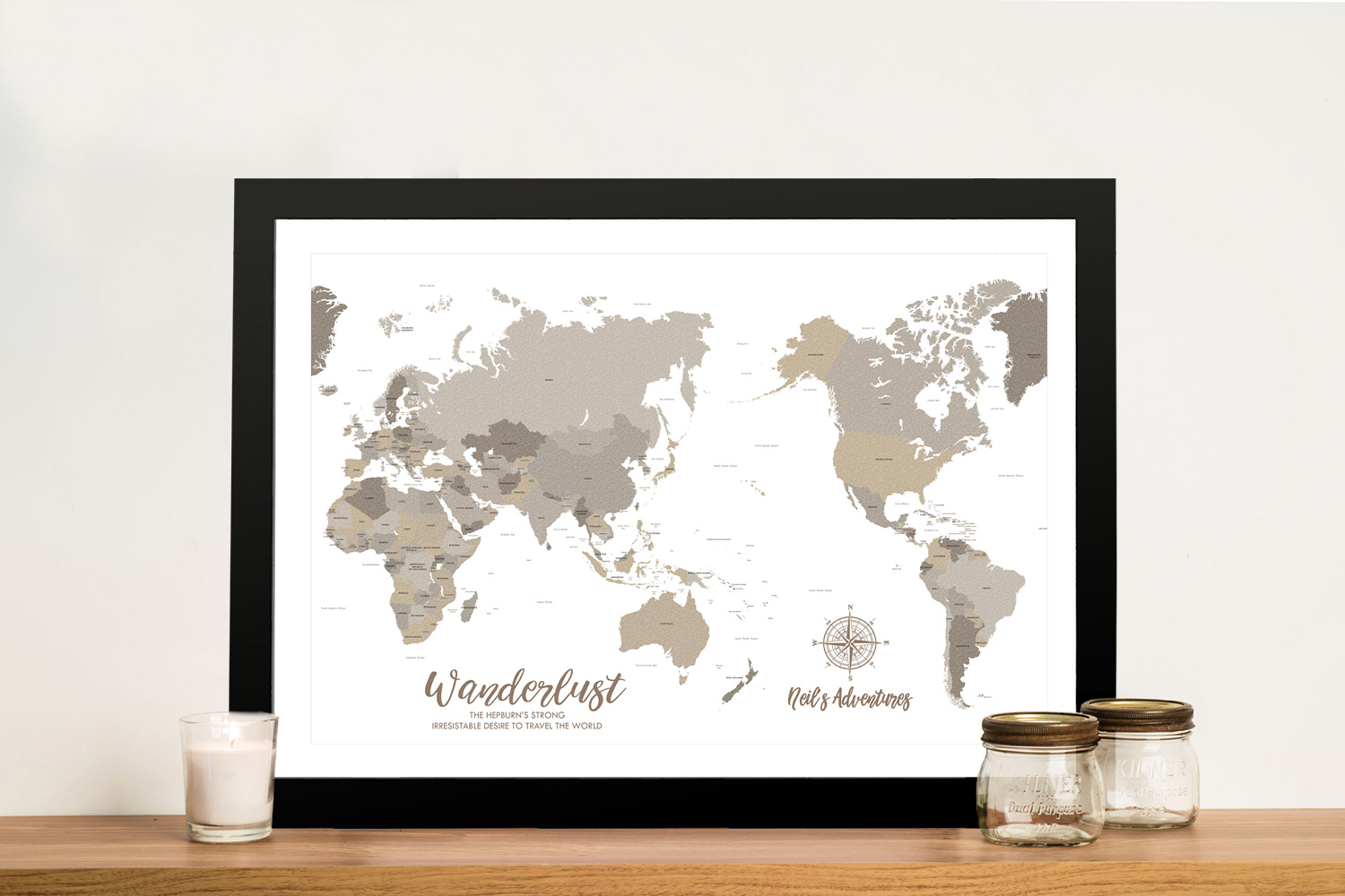 Buy Bronze Pacific Centric Map Wall Art | Bronzed Pacific Centred Push Pin Map