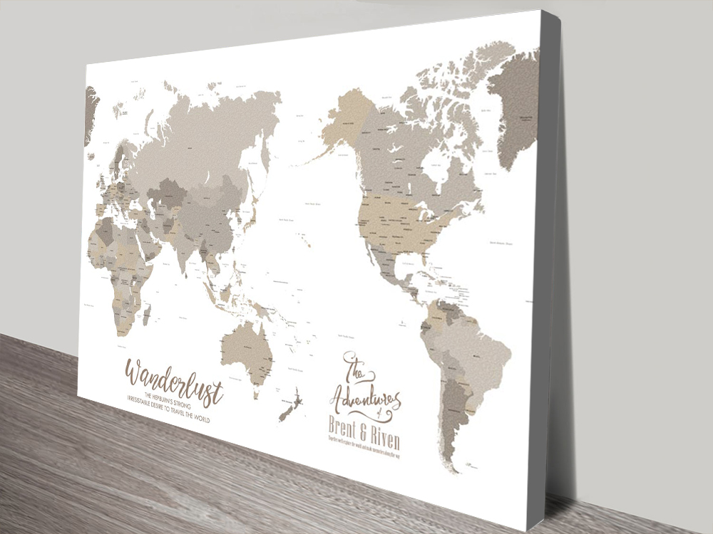 Bronze Australia Centred Custom World Travel Map | Bronzed Pacific Centred Push Pin Map