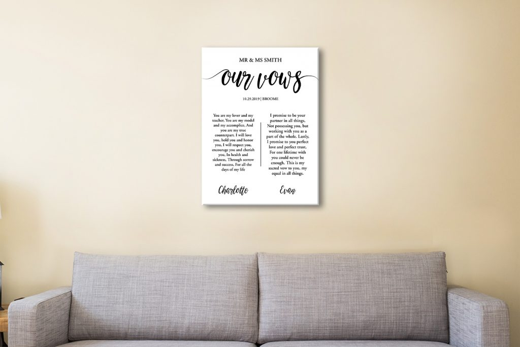 Buy Wedding Vows Artwork Sydney