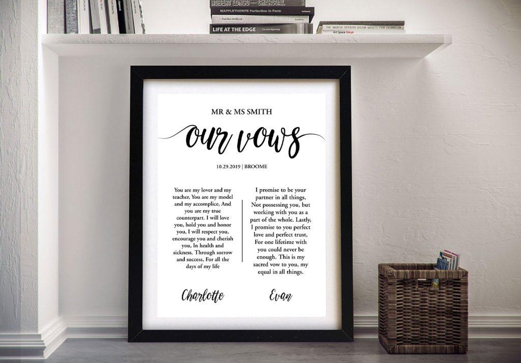 Buy Custom Wedding Vows Artwork Framed Art