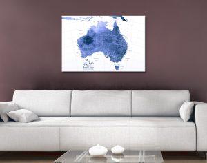 Buy Australia Blue Watercolour Pushpin Pinboard Map