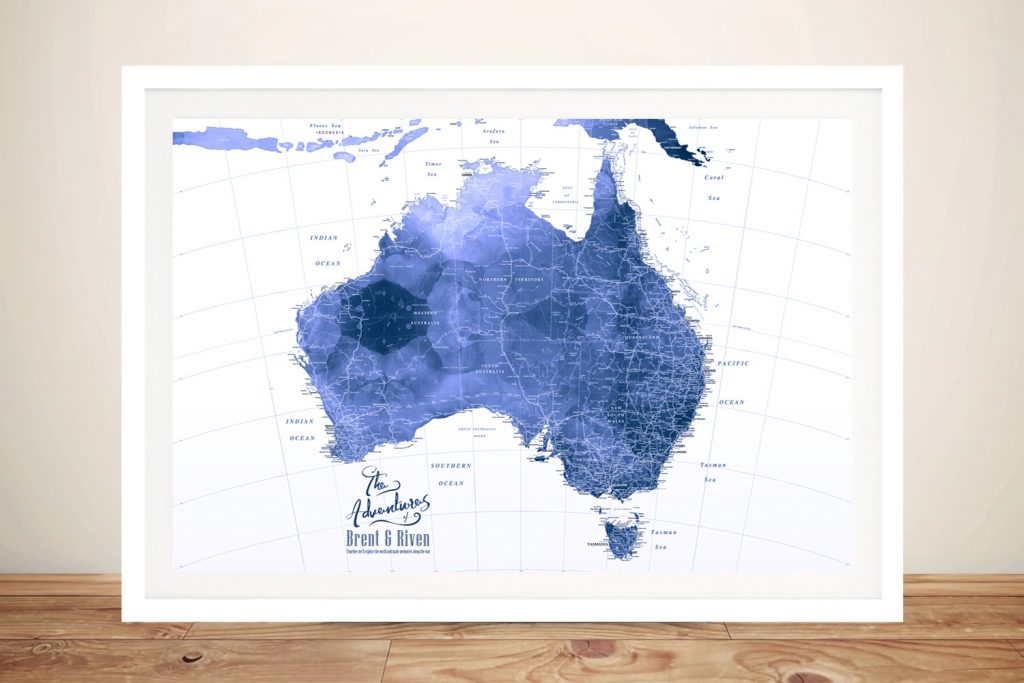 Australia Blue Watercolour Push Pin Pinboard Map Art