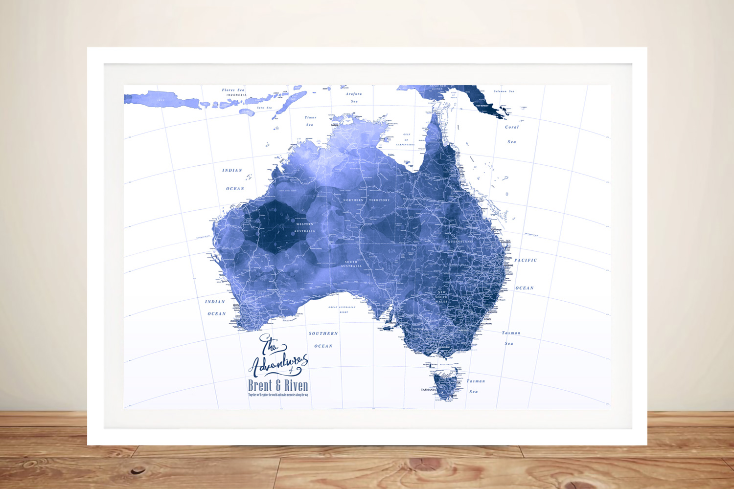Australia Blue Watercolour Push Pin Pinboard Map Art | Australia Blue Watercolour Push Pin Map