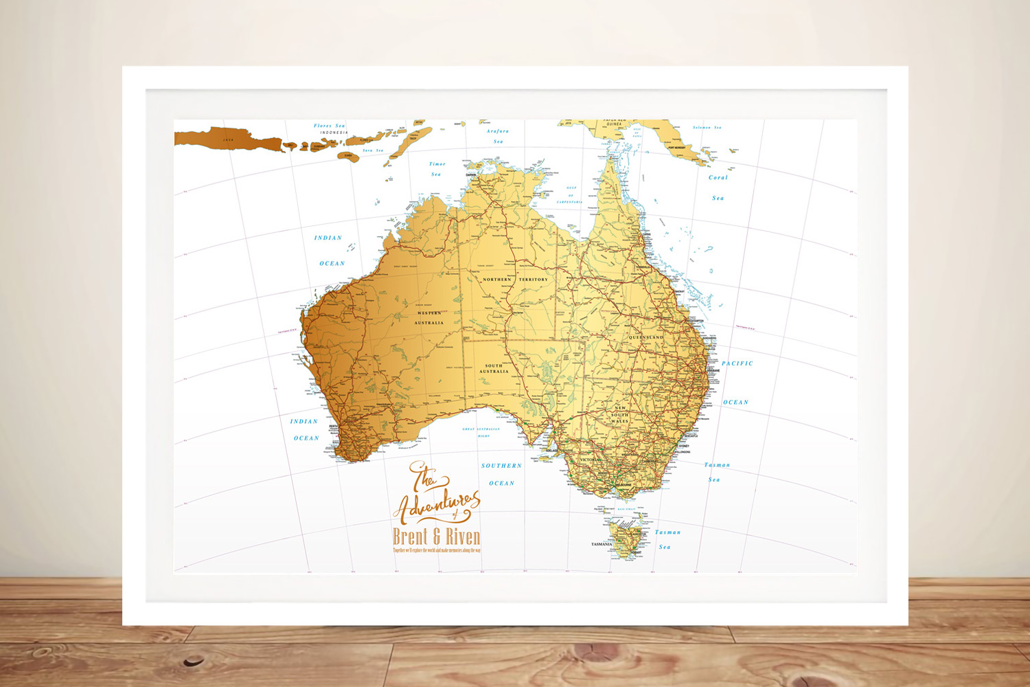 | Australia White & Gold Push Pin Map