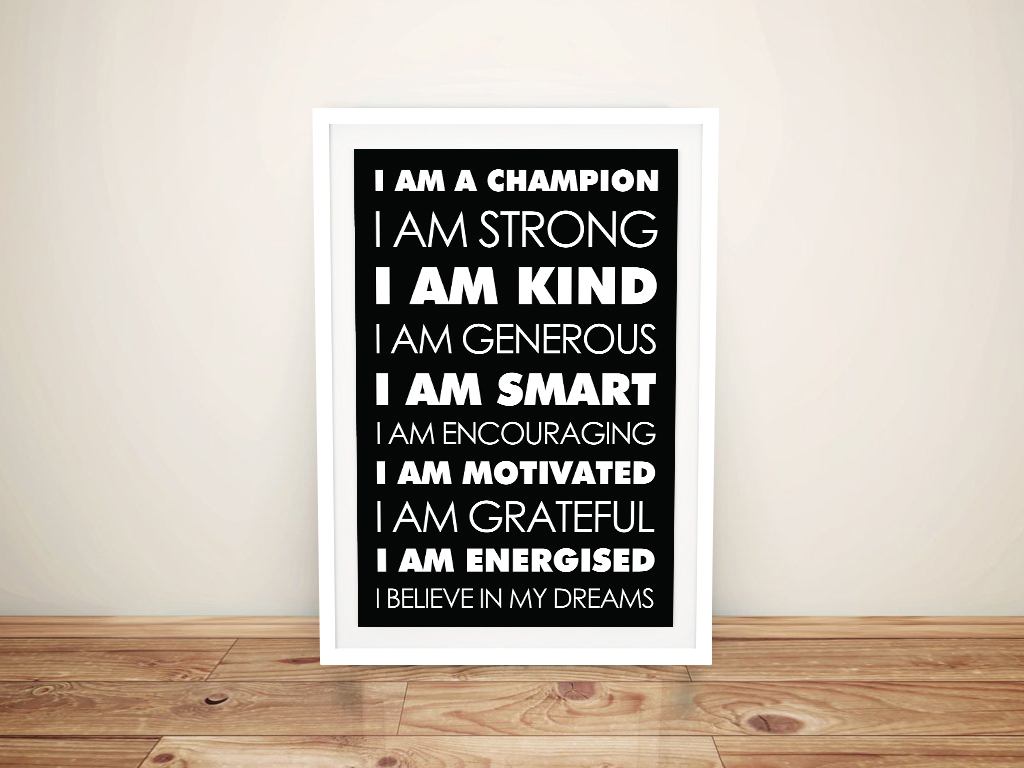 Buy Daily Affirmations Framed Canvas Wall Art | Daily Affirmations – Bold Black