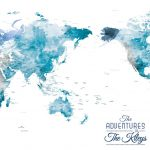 Personalised-Pacific-Centred-Watercolour-World-Pushp-n-Map-Wall-Art