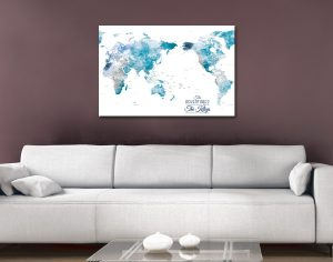 Custom Pacific Centred Watercolour World Pushpin Map Art