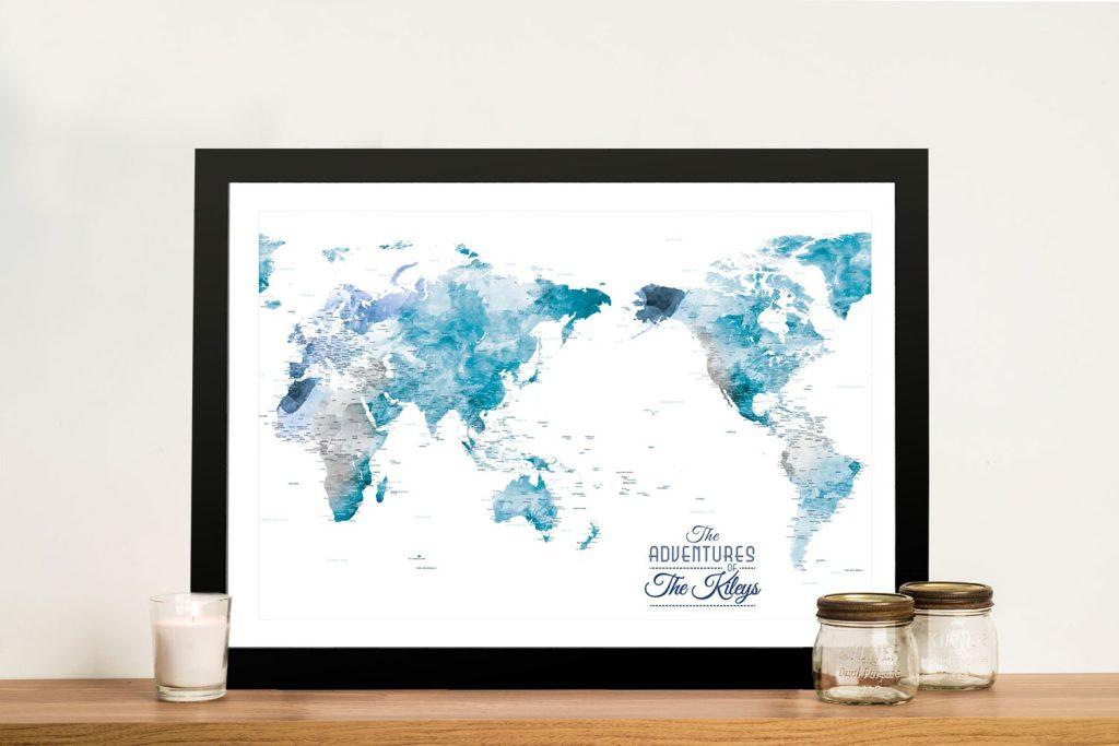 Australia Centred World Pushpin Travel Map Art