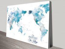 Australia Centred Ocean Tones World Push Pin Travel Map Art