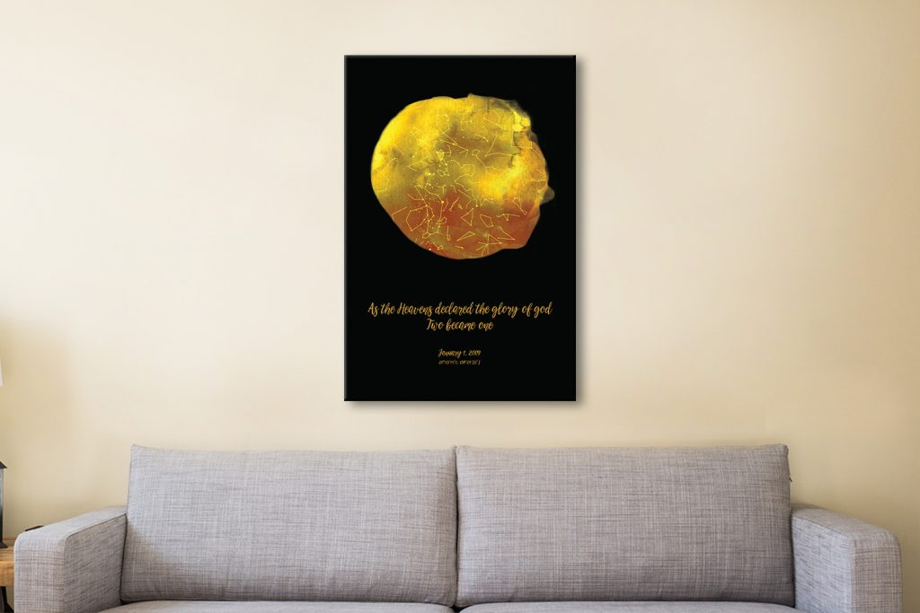 Personalised Star Map Style 15 - Gold
