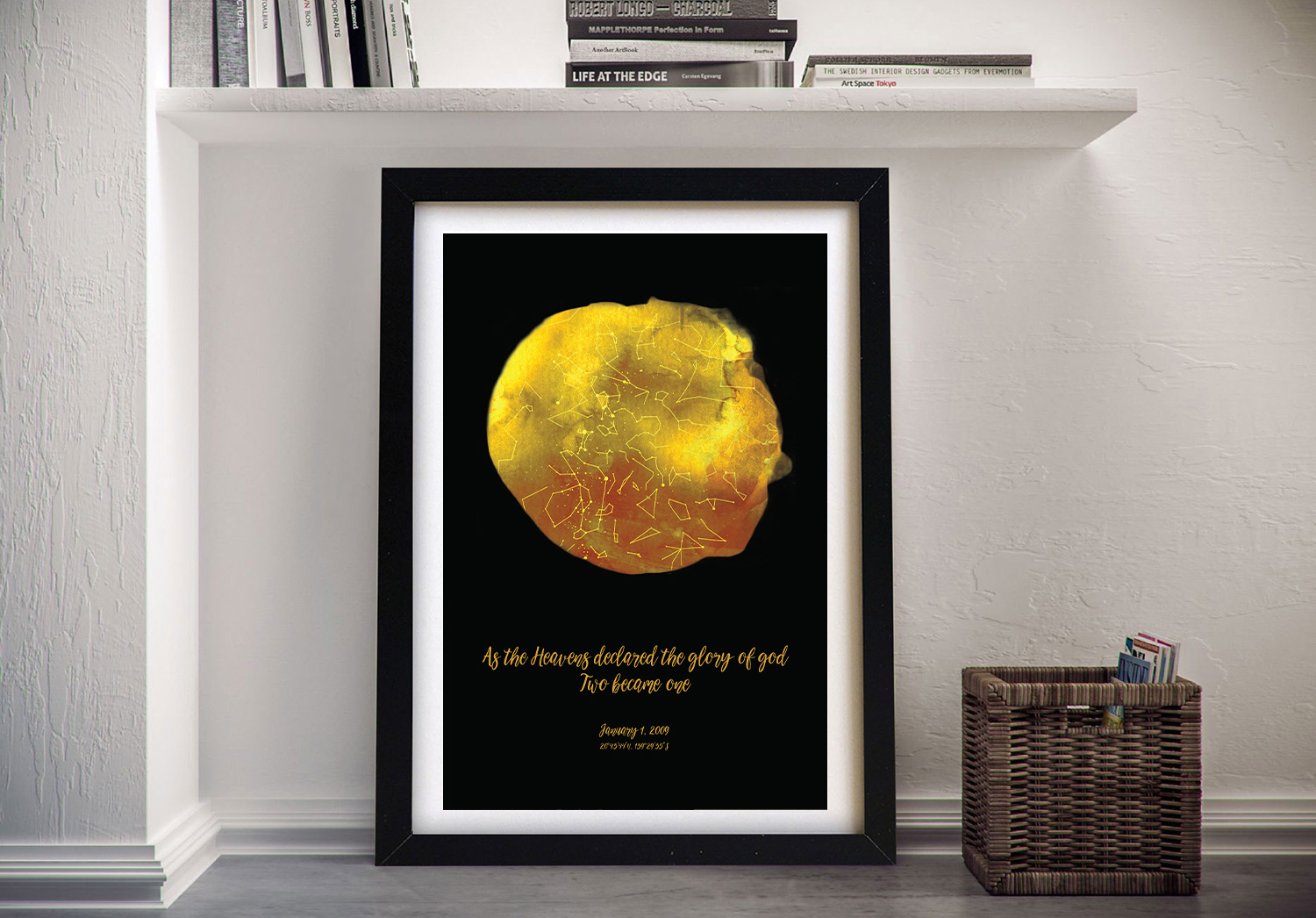 Personalised Star Map Art | Personalised Star Map Style 15 – Gold