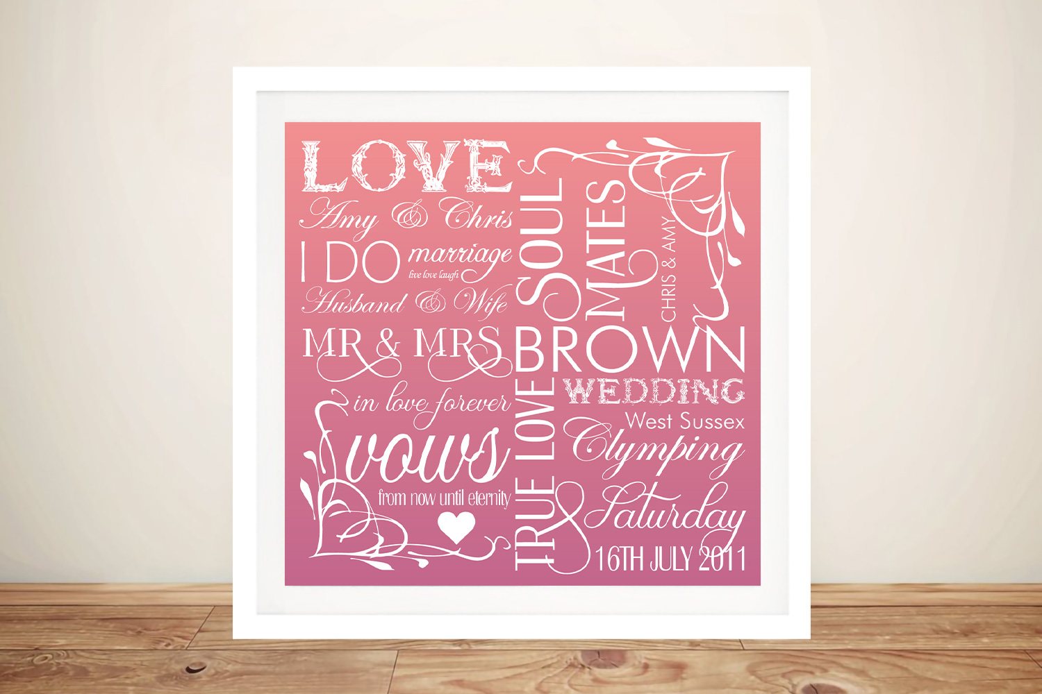 Wedding Day Personalised Word Art | Our Wedding Day