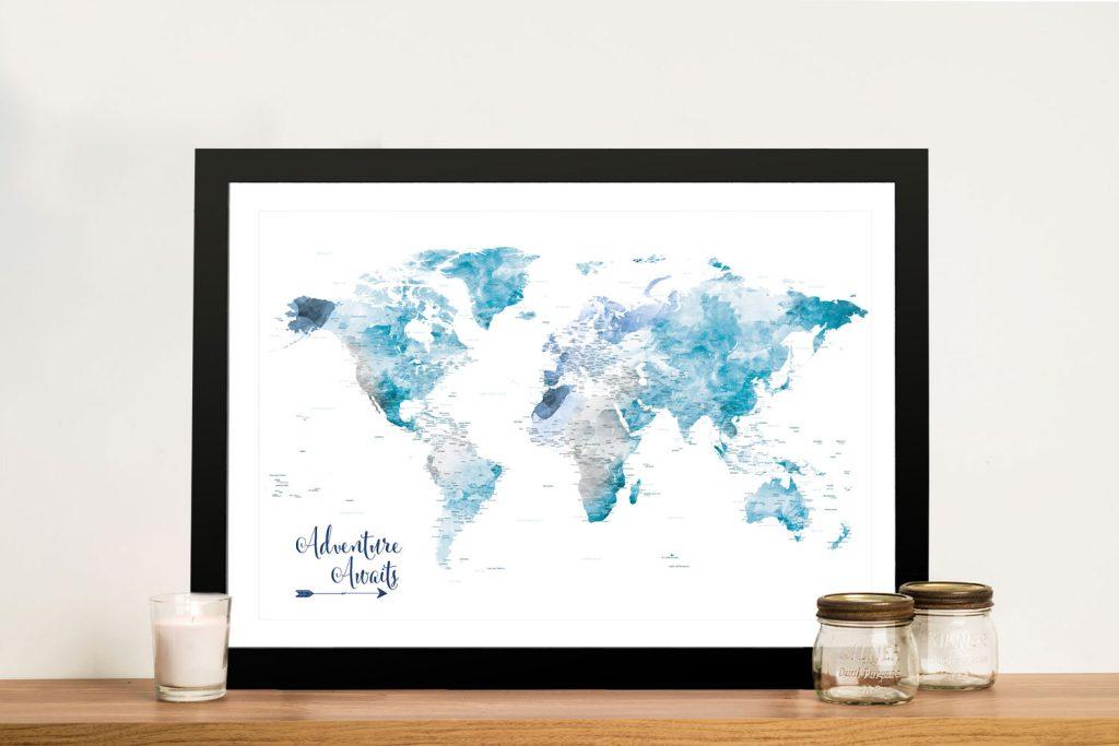 Buy a Personalised Push Pin Ocean Tones World Map