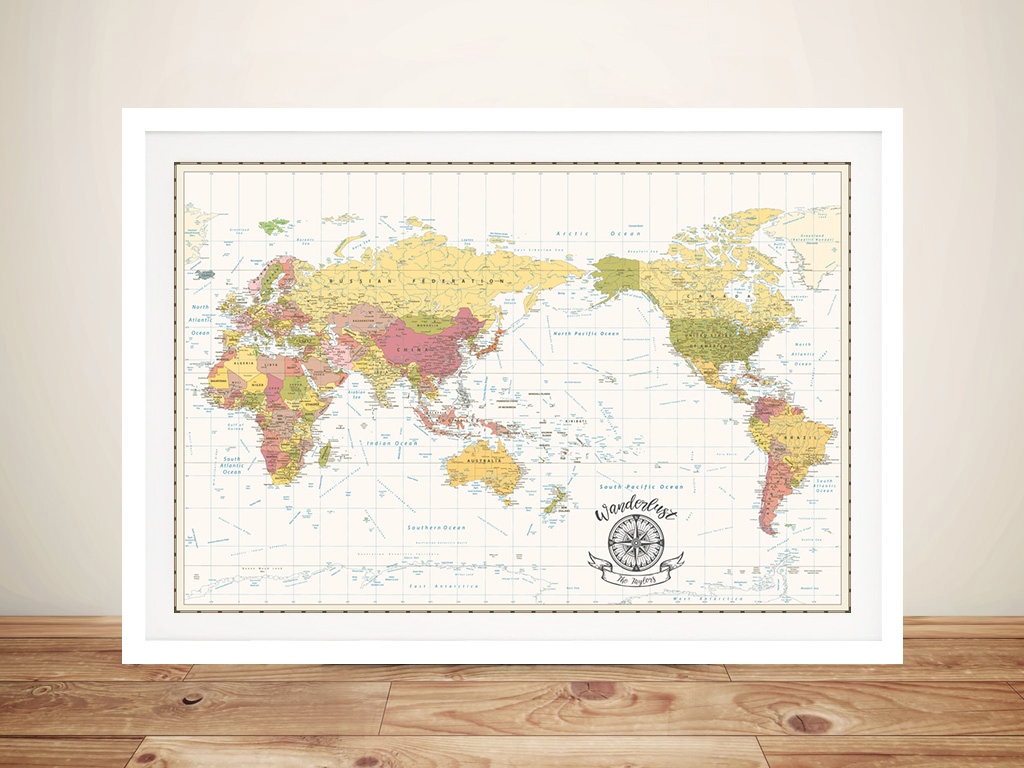 Pacific Centred World Map Wave-Crest-White-Edited-with-compass Framed Wall Artwork | Personalised Australia-Pacific Centric White Map