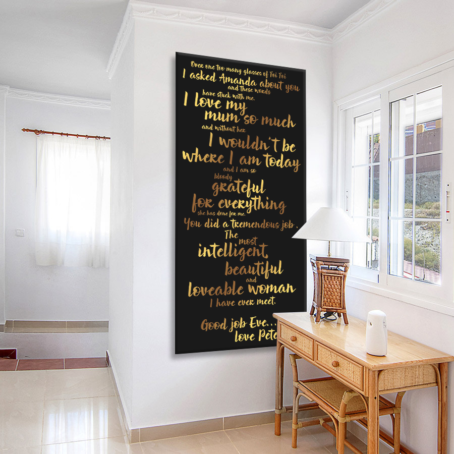 Personalised Quote canvas artwork | Personalised Poems Tram Scroll