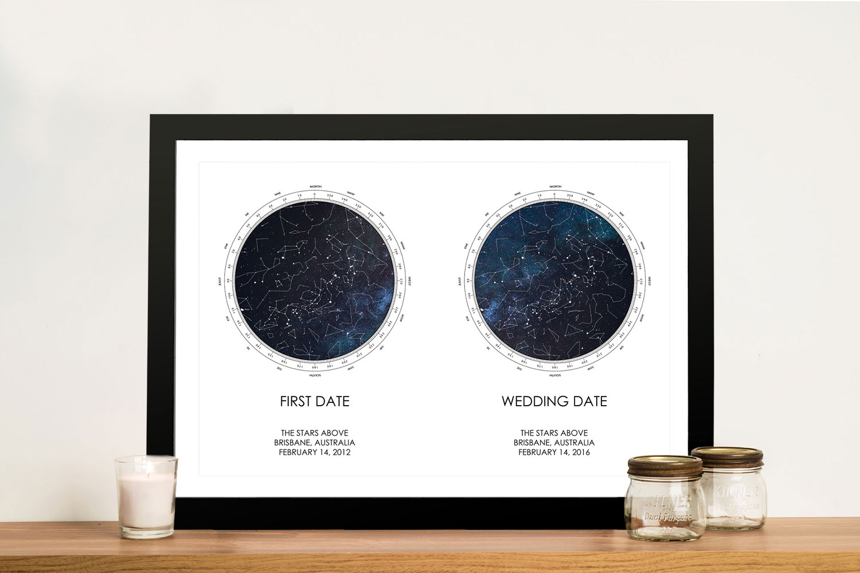 Buy Dual Star Chart Personalised Artwork | Dual Stars Star Map – Style 22