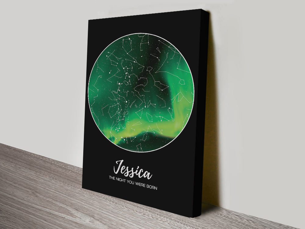 Star Map Aurora Borealis canvas print