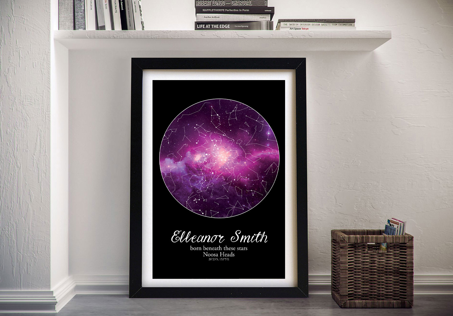 Buy Purple Cosmos Wall Art Baby Gift Ideas | Personalised Purple Cosmos Star Map Style 20