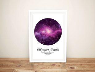 Buy Personalised Purple Cosmos Star Chart Art