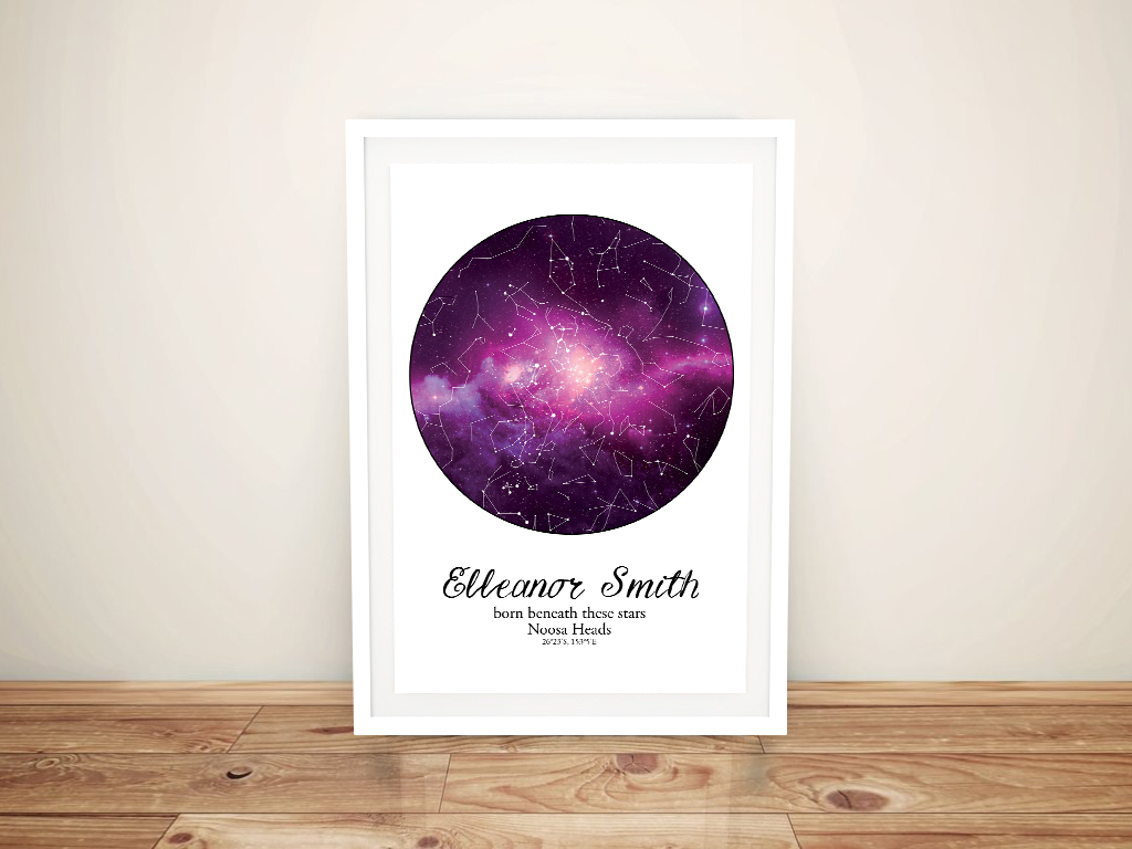 Buy Personalised Purple Cosmos Star Chart Art | Personalised Purple Cosmos Star Map Style 21