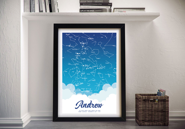 Custom Star Map Wall Art Gift for a Newborn Baby | Newborn Baby Boy – Personalised Star Map