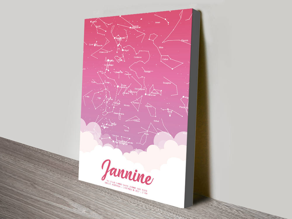 Star Map Baby pink map canvas print