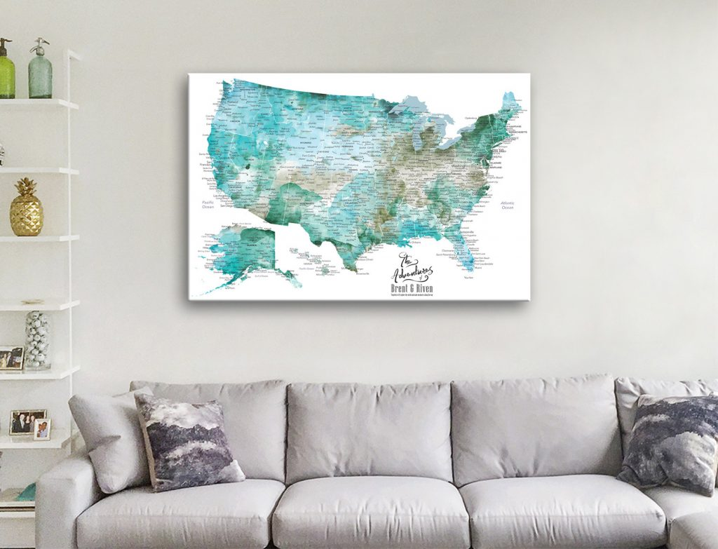 Custom USA Map Canvas Artwork