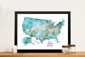 USA Map Framed Wall Art