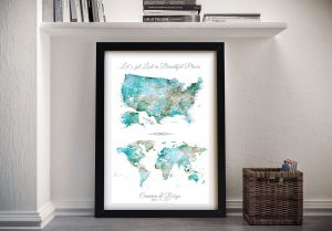Personalised Push Pin Dual USA & World Map in Green