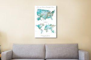 USA Map and World Map Artwork