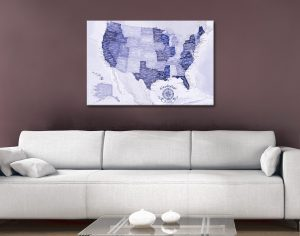 Buy Purple Custom American Pinboard Travel Map