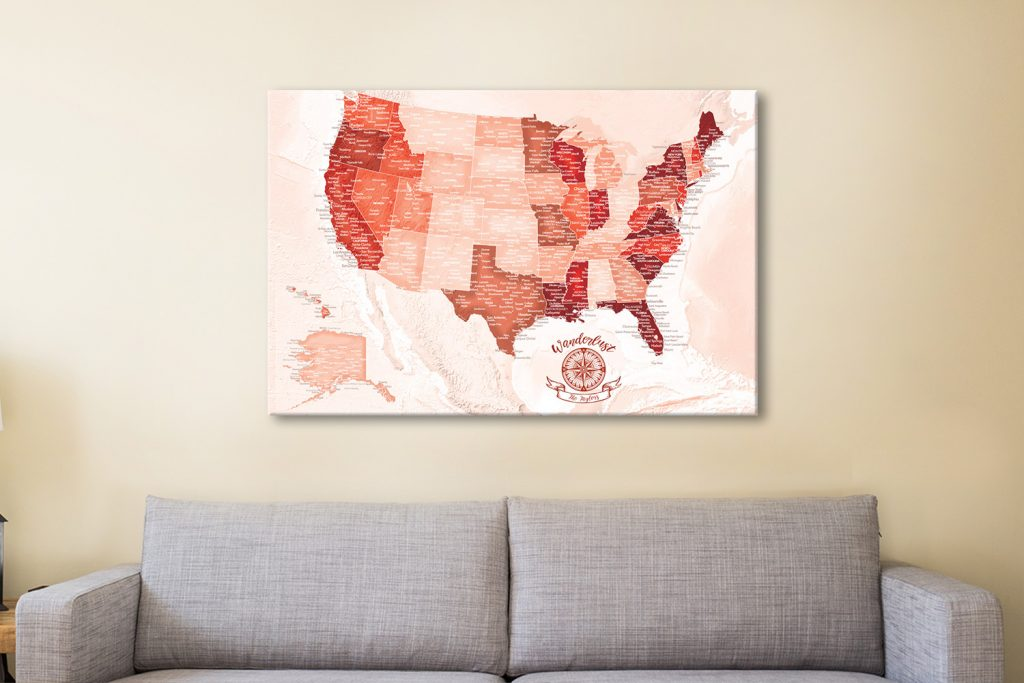 USA Red Pinboard Map Canvas Artwork