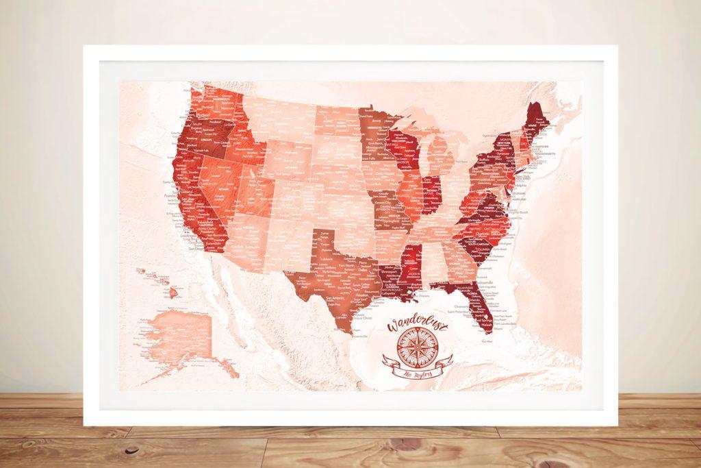 Buy Personalised Red Custom America Push Pin Travel Map
