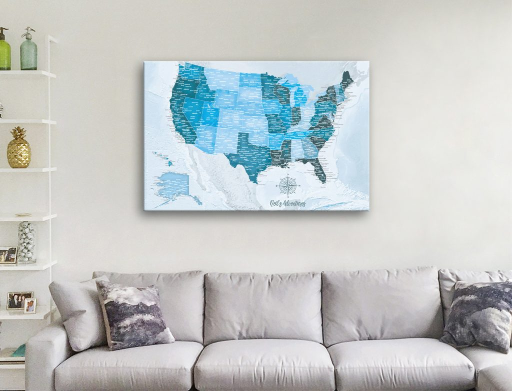 Buy Blue Personalized USA Pin Board Travel Map