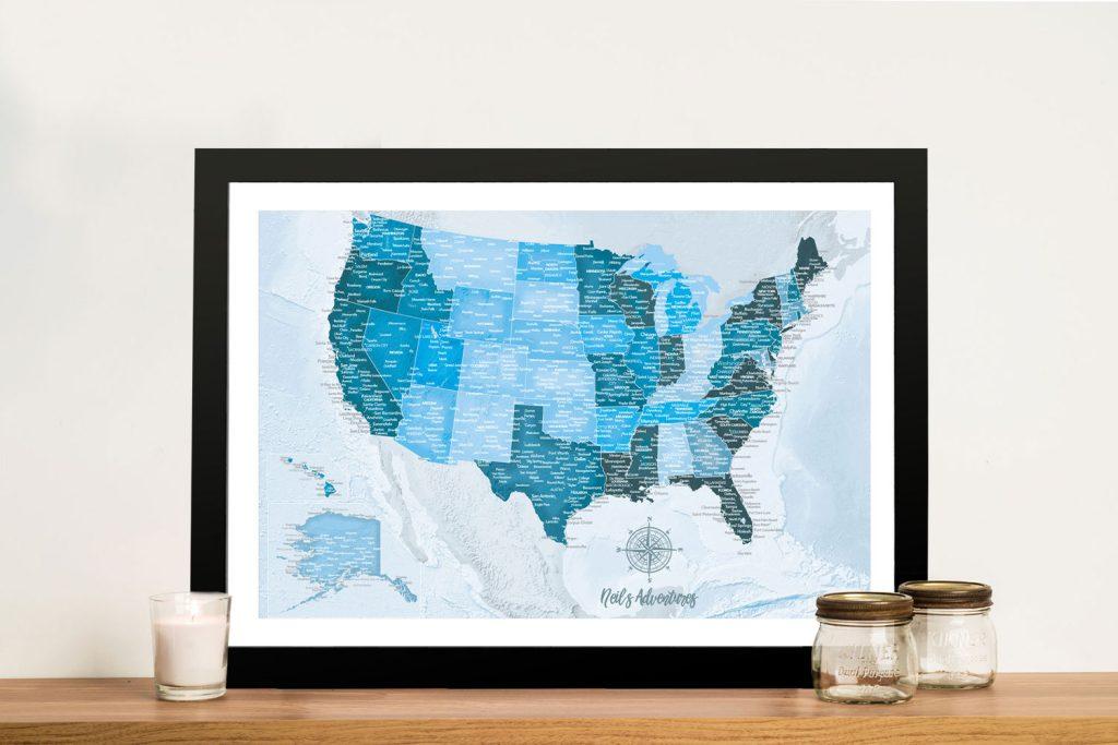 Buy Blue Tones Custom America Push Pin Travel Map
