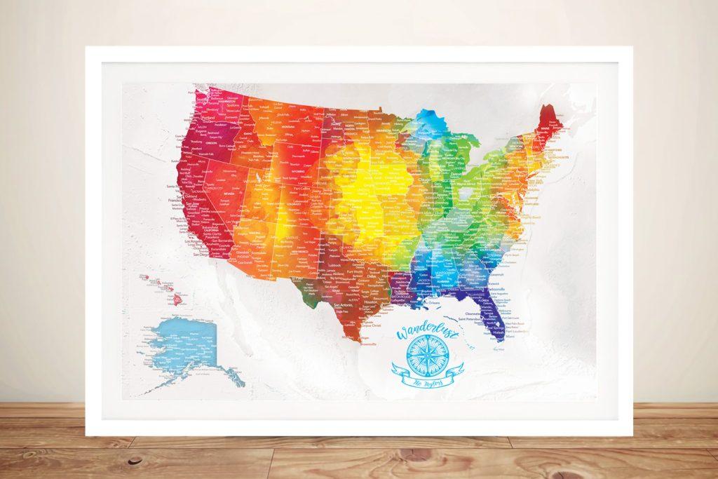 USA Watercolour Splash Framed Wall Art