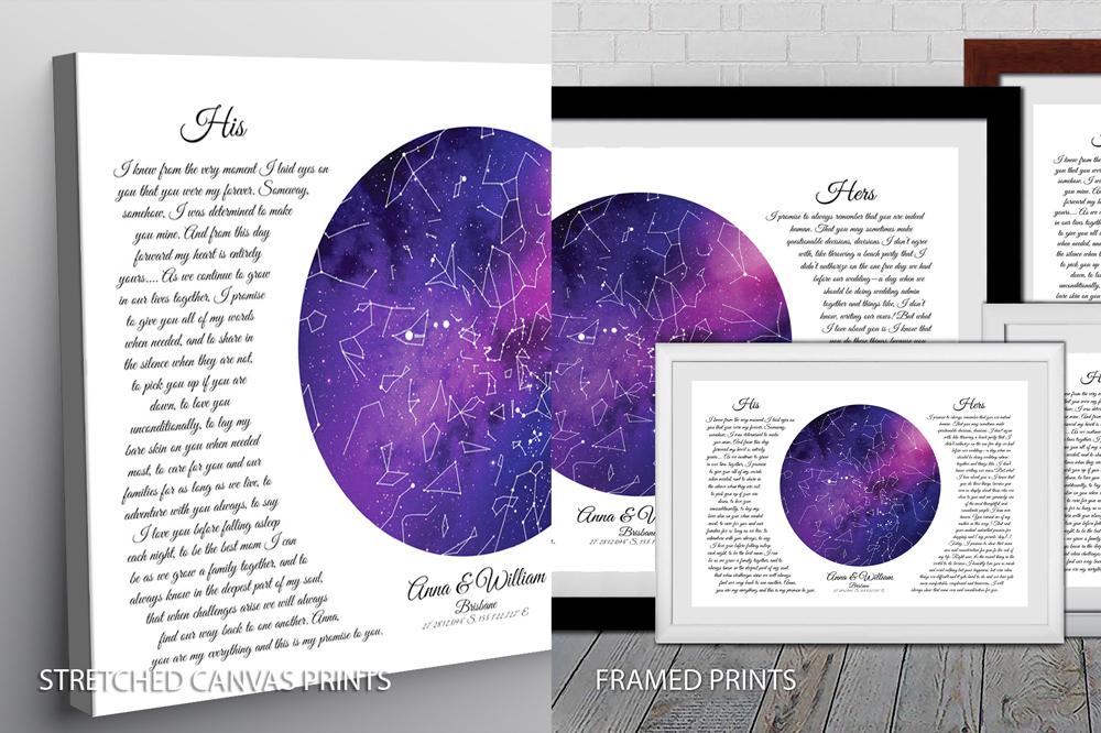 Wedding Vows Star Map Purple Quality Print