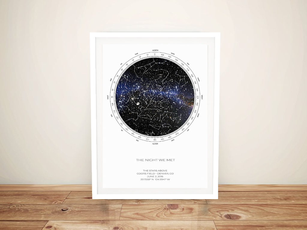 Buy Custom Star Map Artwork Online | Personalised Star Map Style 9