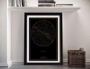 Custom Framed Star Map of the Night Sky