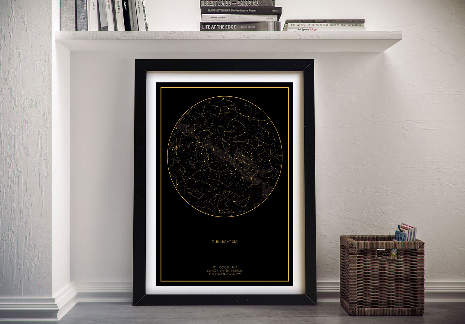 Custom Framed Star Map of the Night Sky | Personalised Star Map Style 3