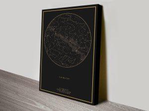 Buy Personalised Star Map Art Brisbane