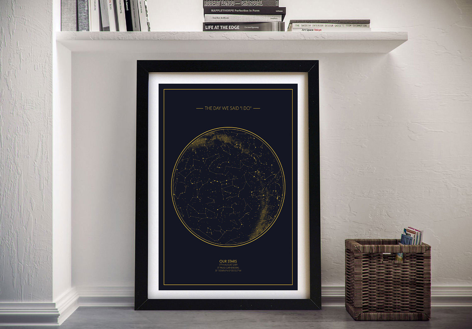 Custom Star Charts of the Night Sky Canvas | Personalised Star Map Style 5
