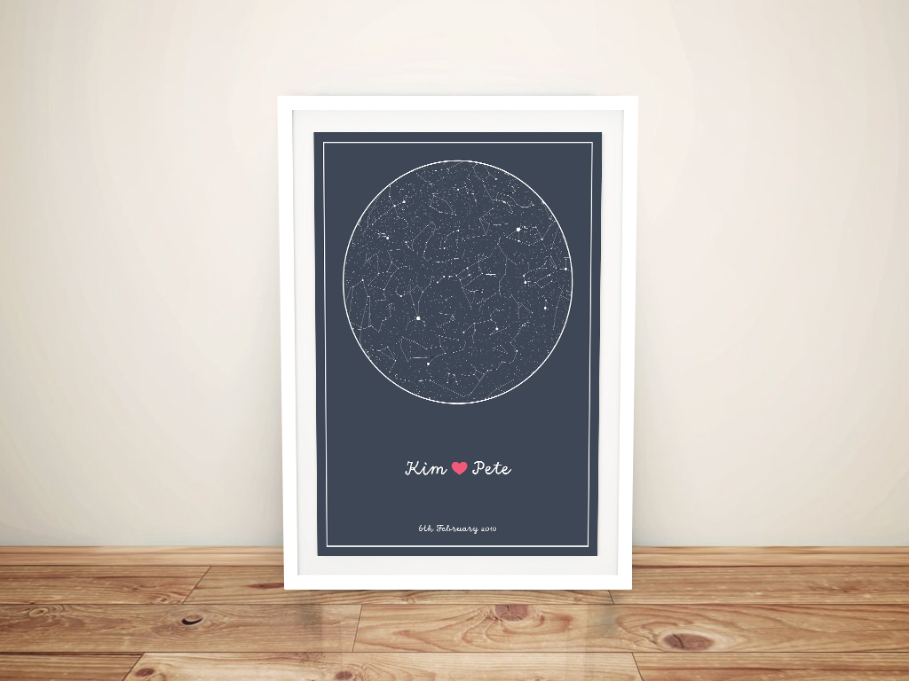 Custom Star Map Charts of the Sky Canvas | Personalised Star Map Style 8