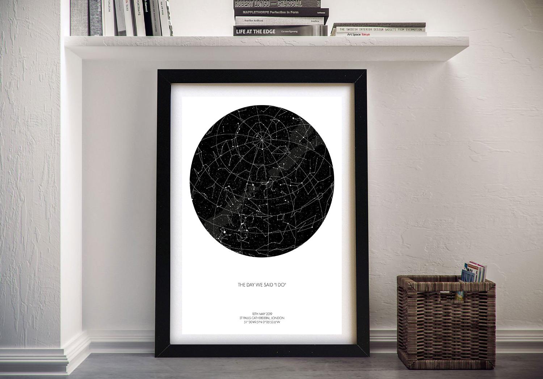 Buy Custom Star Map Wall Art | Personalised Star Map Style 4