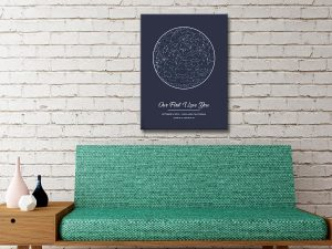Personalised Star Map on Canvas Adelaide