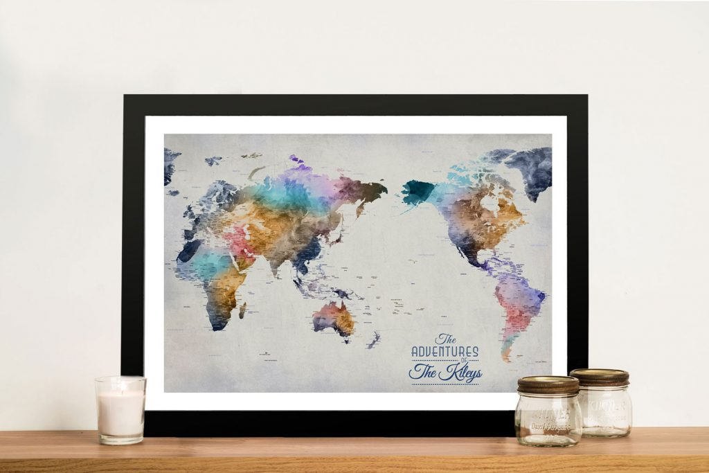 Dusky Tones Pacific Centred World Map