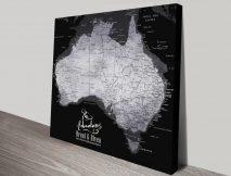 Buy a Silver & Black Pushpin Map of Australia