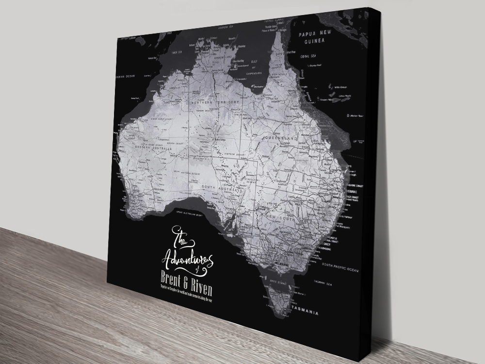 Buy a Silver & Black Pushpin Map of Australia | Australia Detailed Black & Silver Square Map