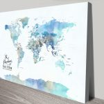 Blue-Watercolour Map-of-the-World-Art