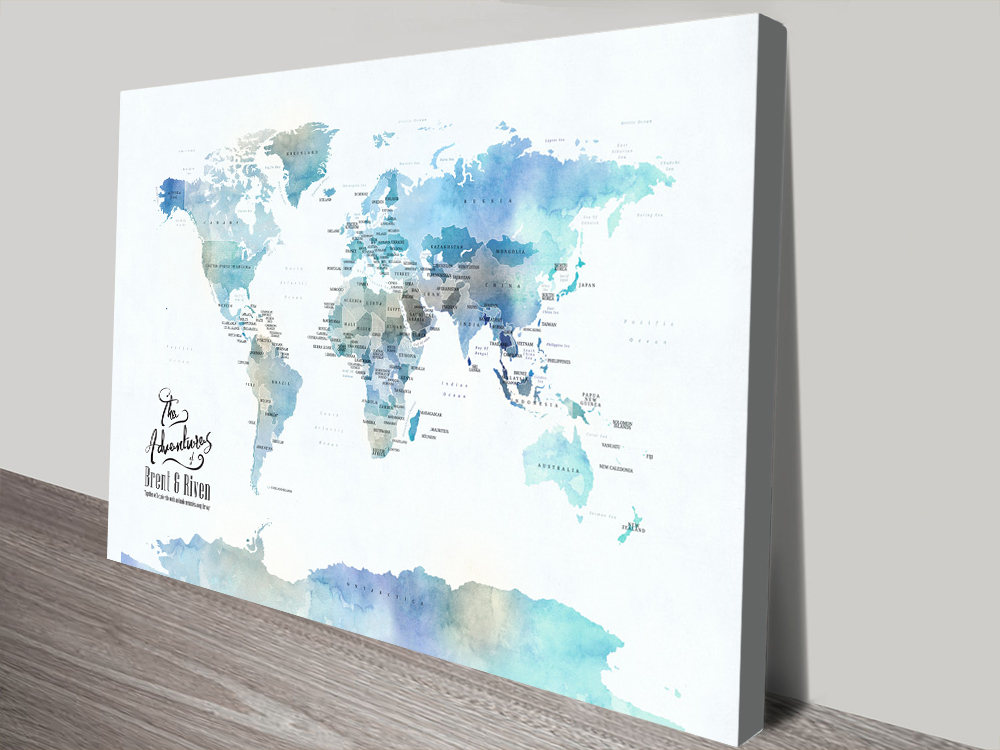 Blue Watercolour Map of the World Art